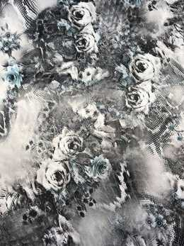 Stretch duschess Black & Grey Roses