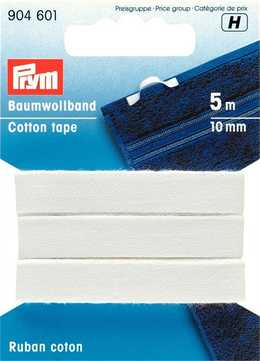 PRYM - Bomullsband 10 mm vit, 5M