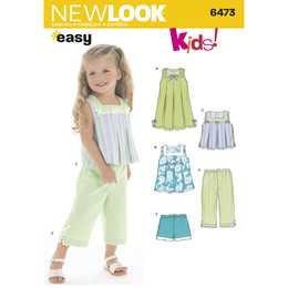 New Look 6473 - Klännning Top Byxa Shorts - Baby Flicka
