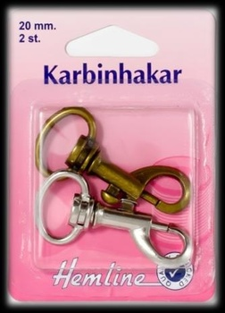 KARBINHAKE 2 x 20 MM SORT. FÄRGER