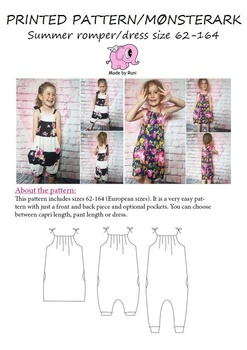 Summer Romper Dress 62-164 Made by Runi