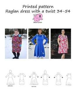 33 Raglan Dress with A Twist 34-54 Made by Runi